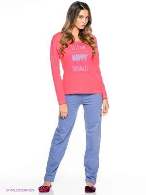 Пижама Vienetta Secret. Цвет: коралловый, голубой