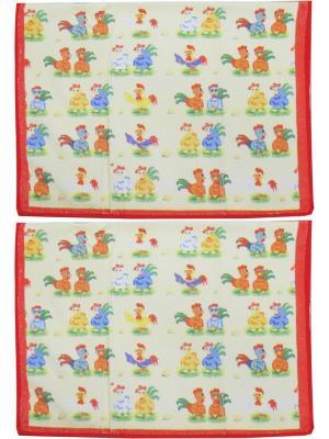 Набор полотенец из микрофибры дизайн Петушок 40*60 - 2 шт. Dorothy's Нome. Цвет: красный, зеленый