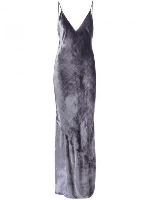 Бархатное платье на бретелях  Bias Fleur Du Mal. Цвет: серый