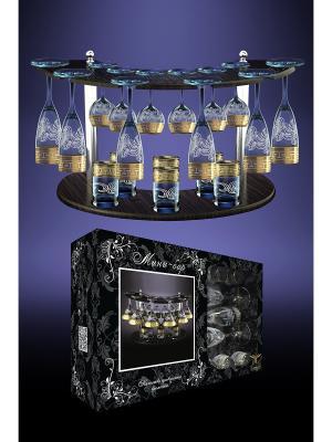 Набор с барной стойкой 19 предметов рисунком Греческий узор Гусь-Хрустальный. Цвет: прозрачный