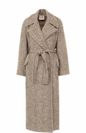 Пальто с широкими лацканами и поясом Erika Cavallini. Цвет: кремовый