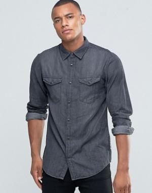 Jack & Jones Джинсовая рубашка на кнопках с двумя карманами Originals. Цвет: черный
