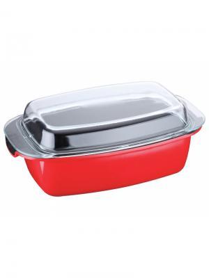 Утятница красная 39х22х15см,алюминий с мраморным покрытием, 5,3л Elff Ceramics. Цвет: красный, черный