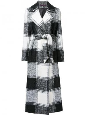 Длинное пальто в клетку Martin Grant. Цвет: белый