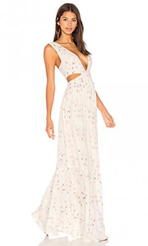 Макси платье с вырезом sunset Stillwater. Цвет: кремовый