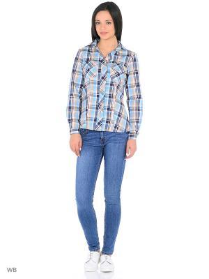 Рубашка HomeLike. Цвет: голубой, бежевый