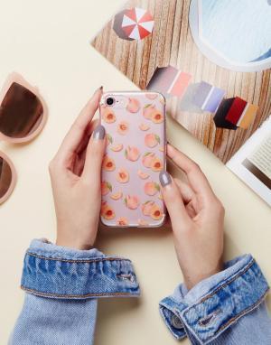 SIGNATURE Чехол для iPhone 7 с принтом персиков. Цвет: розовый