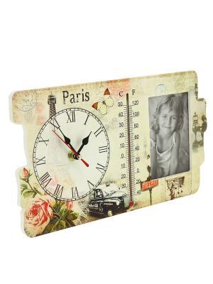 Часы с фоторамкой и термометром RICH LINE Home Decor. Цвет: бежевый