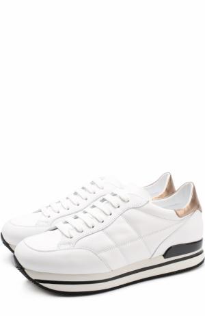 Кожаные кроссовки на шнуровке Hogan. Цвет: белый