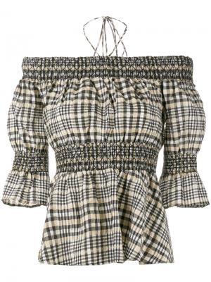 Блузка с приспущенными плечами Charron Ganni. Цвет: многоцветный