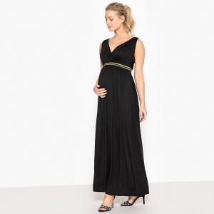 Платье длинное с блестящей резинкой для периода беременности La Redoute Collections. Цвет: черный