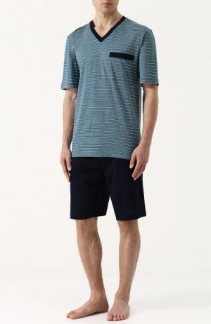 Хлопковая пижама с шортами и футболкой в полоску Zimmerli. Цвет: зеленый