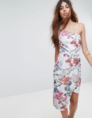 Oh My Love Платье миди на одно плечо с цветочным принтом. Цвет: мульти