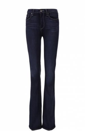 Расклешенные джинсы с контрастной прострочкой Paige. Цвет: синий
