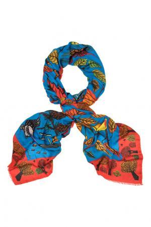 Кашемировый платок «Осенние листья» Gourji. Цвет: голубой