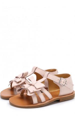 Кожаные сандалии с бантами Gallucci. Цвет: розовый