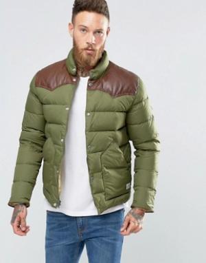Penfield Стеганая куртка с кожаной кокеткой Pelam. Цвет: зеленый
