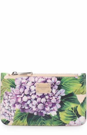 Кожаный футляр для ключей с принтом Dolce & Gabbana. Цвет: кремовый