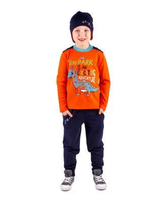 Джемпер, брюки, шапка Апрель. Цвет: оранжевый, синий