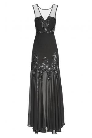 Платье из искусственного шелка в пайетках 182598 Paola Morena. Цвет: черный