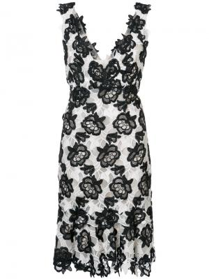 Floral lace V-neck dress Monique Lhuillier. Цвет: чёрный