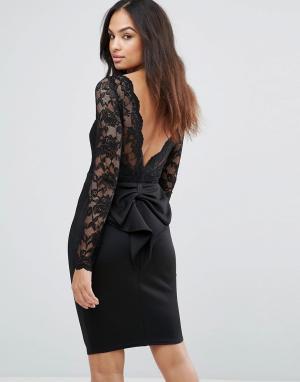 City Goddess Платье мини с длинными рукавами и кружевным лифом. Цвет: черный