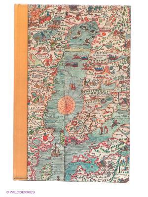 Блокнот Старая карта Kawaii Factory. Цвет: серо-голубой, светло-коричневый, коралловый