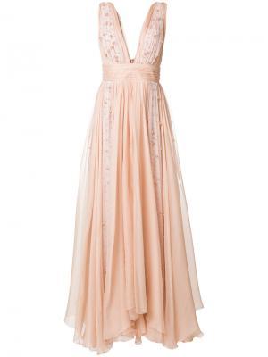 Платье с жемчужной отделкой Maria Lucia Hohan. Цвет: телесный
