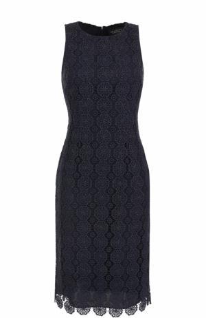 Кружевное приталенное платье без рукавов St. John. Цвет: темно-синий