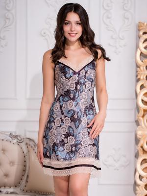 Ночная сорочка MIA-AMORE. Цвет: коричневый, бежевый, голубой