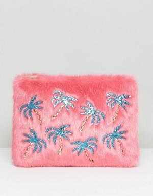 Skinnydip Меховой клатч с аппликацией из пальм. Цвет: розовый