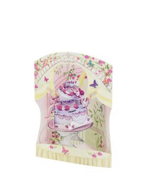 Объемная открытка  Свадебный торт Даринчи. Цвет: розовый