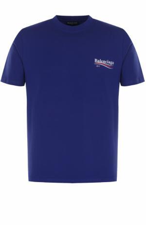 Хлопковая футболка свободного кроя с логотипом бренда Balenciaga. Цвет: синий