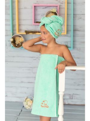 Полотенце на липучке детское от Pecorella салатовое. Цвет: салатовый