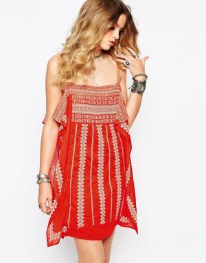Gat Rimon Платье мини с вышивкой Coloo. Цвет: оранжевый