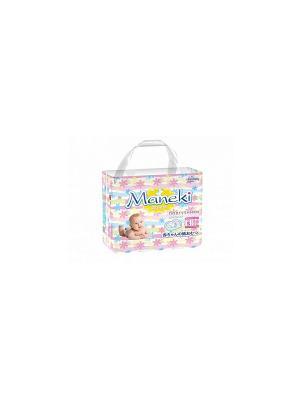 Подгузники детские одноразовые mini, размер S, 4-8 кг, 26 шт./упак Maneki. Цвет: белый
