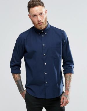 PS by Paul Smith Темно-синяя оксфордская рубашка классического кроя. Цвет: темно-синий