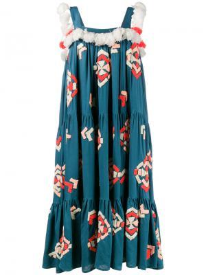 Многоярусное платье Tassa Mochi. Цвет: синий