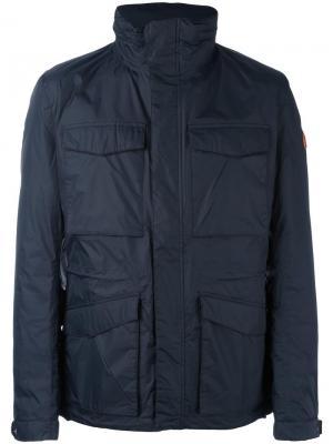 Дутая куртка с карманами клапанами Save The Duck. Цвет: синий