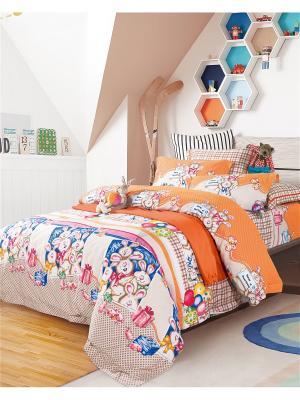Постельное белье 1,5-спальное Asabella. Цвет: белый, бежевый, оранжевый