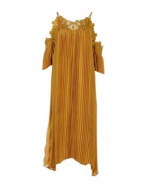 Платье длиной 3/4 WEILI ZHENG. Цвет: охра
