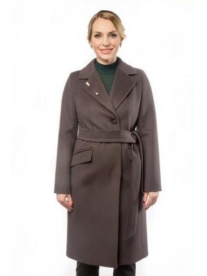 Пальто GallaLady. Цвет: темно-коричневый