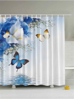 Фотоштора для ванной Ирисы и бабочки, денежный дождь, белые ромашки, бамбук, 180x200 см Magic Lady. Цвет: бежевый, белый, молочный, светло-серый, синий, черный