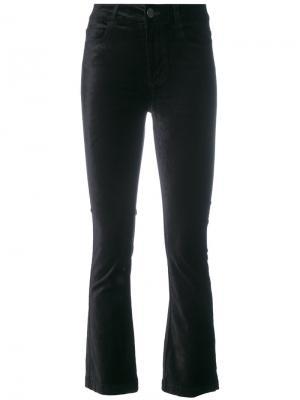 Укороченные расклешенные бархатные брюки Paige. Цвет: чёрный