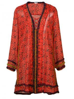Свободное платье с перекрещенными деталями Poupette St Barth. Цвет: красный