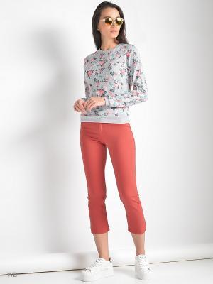 Свитшот Colambetta. Цвет: серый меланж, бирюзовый, розовый