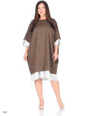 Платье-туника Fichissimo. Цвет: светло-коричневый