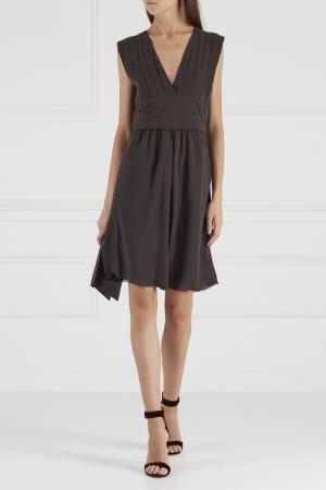 Шелковое платье Mauro Grifoni. Цвет: серый