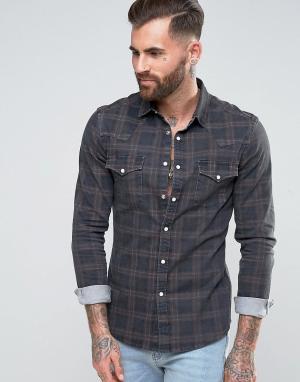 ASOS Серая узкая джинсовая рубашка в стиле вестерн с узором клетку. Цвет: серый