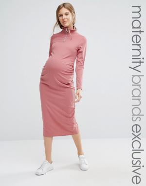Bluebelle Maternity Облегающее платье миди в рубчик для беременных. Цвет: красный